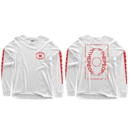 Wethepeople Saturn Long Sleeve T-Shirt White Red Large